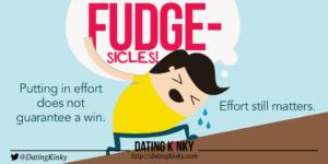 "A cartoon man lugging a huge burden uphill, thinking ""Fudgesicles!"""