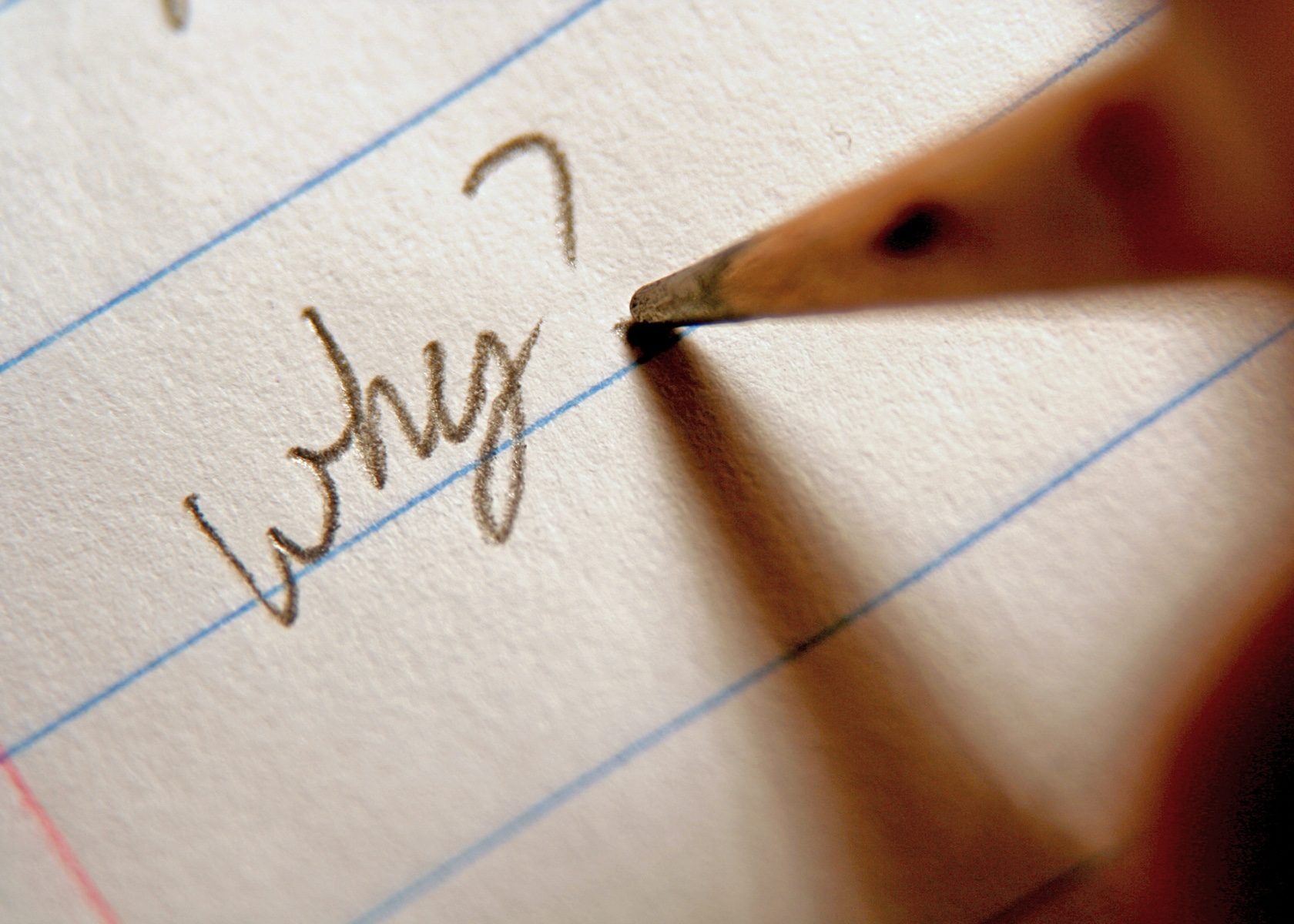 "A pencil writing ""why?"" on a piece of lined paper."