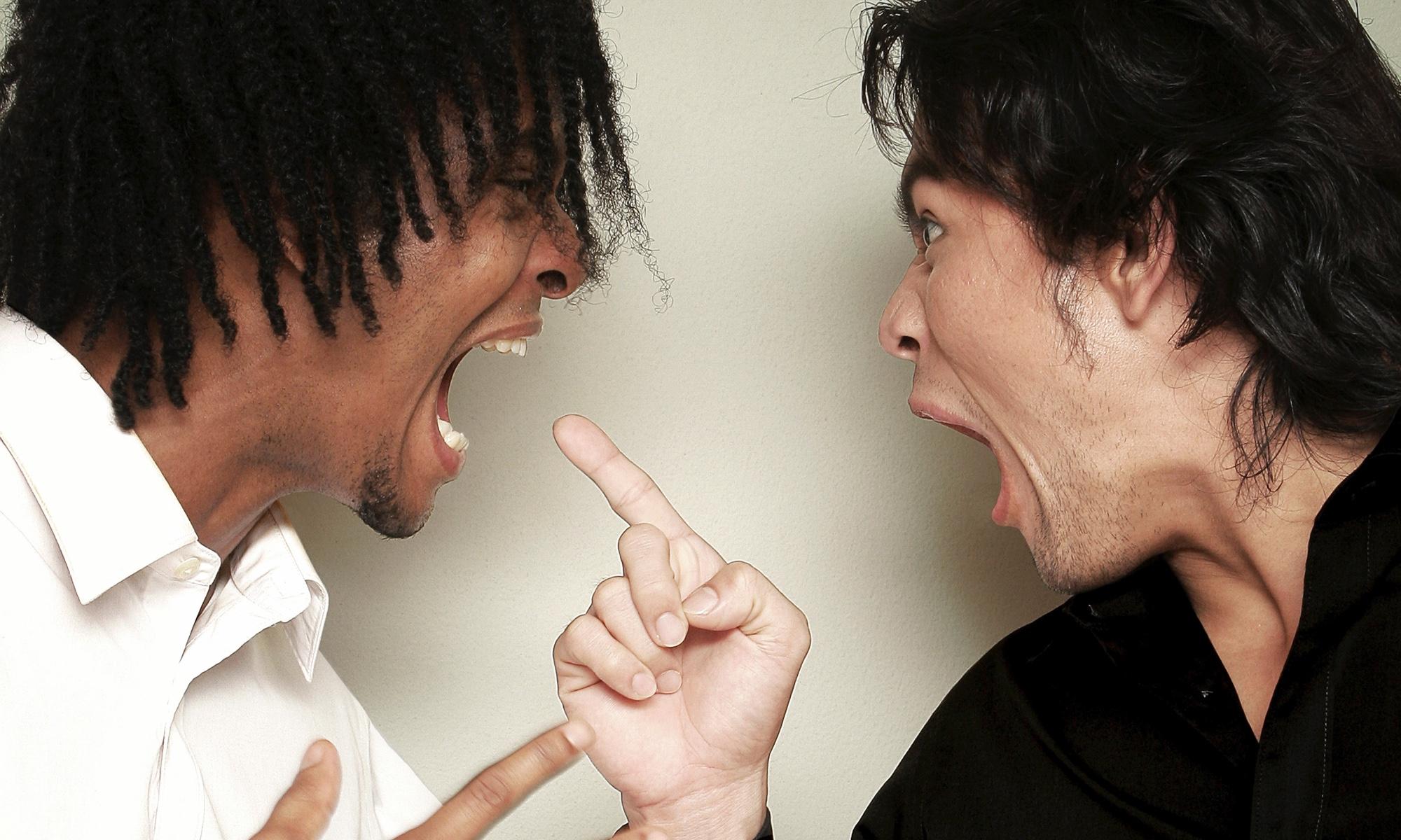 Two men arguing.