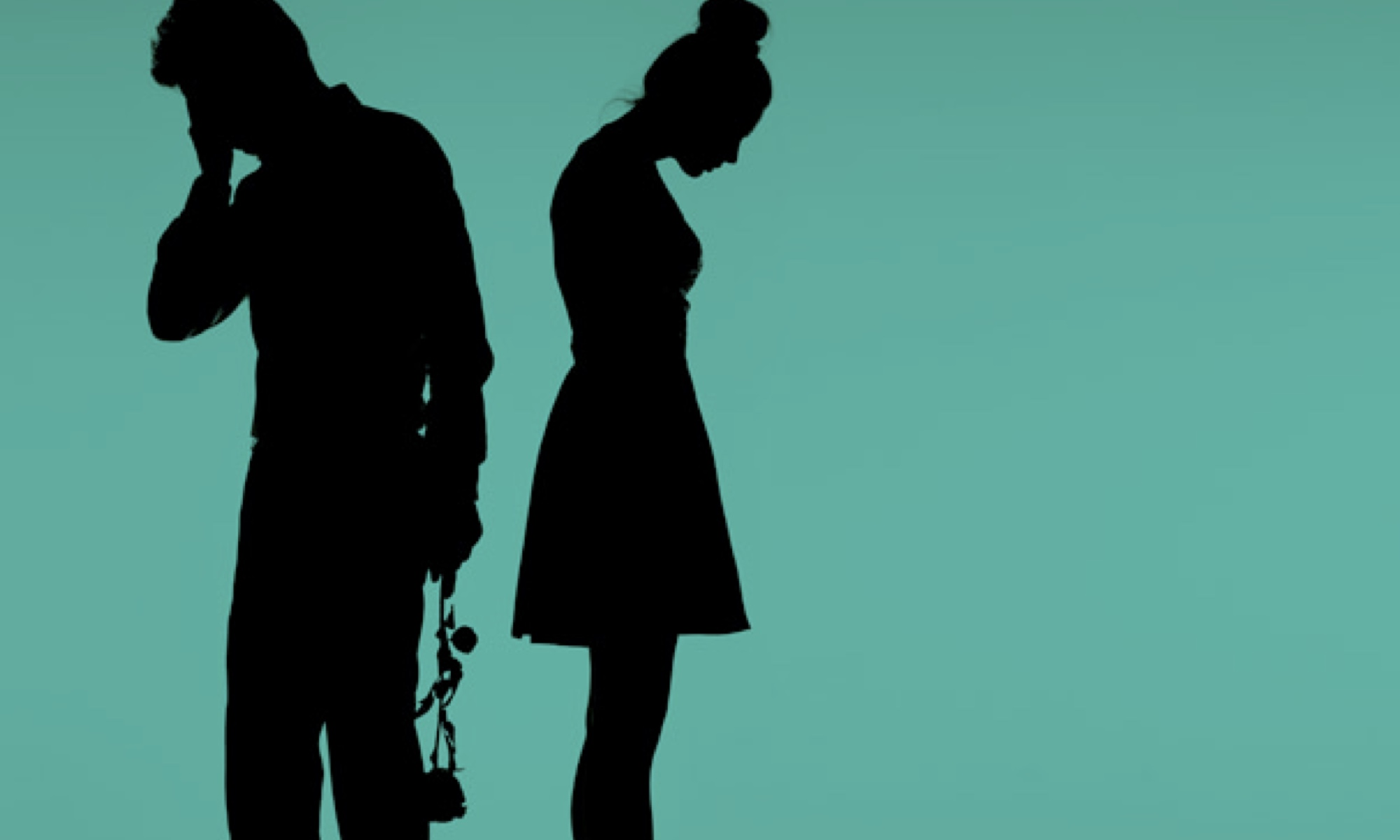 A man/woman couple standing in silhouette, back to back, looking miserable.