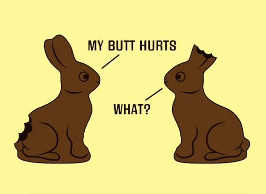 """Two chocolate bunnies, one with his tail bitten off, one with his ears eaten. The one minus a tail says: """"My butt hurts."""" The one missing ears says: """"What?"""""""