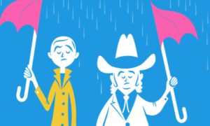 It's raining and two people are each hold half of an umbrella, while neither stays dry.