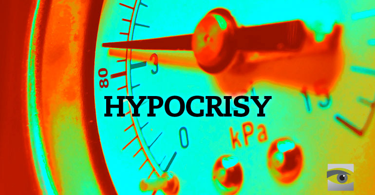 A dial showing hypocrisy climbing.