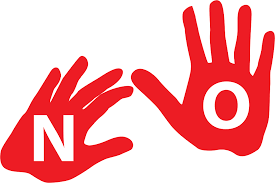 "Two red hand prints, one with a white ""N"", the other with a white ""O"", spelling ""No."""