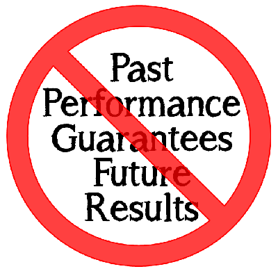 "The words: ""Part Performance Guarantees Future Results,"" with a red circle/slash around it."
