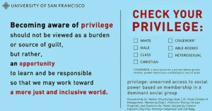 """An image of words: """"Becoming aware of privilege should not be viewed as a burden or source of guilt, but rather, an opportunity to learn and be responsible so that we may work toward a more just and inclusive world."""" One section urges those who are """"white,"""" """"male,"""" """"Christian,"""" """"cisgender,"""" """"able-bodied,"""" and/or """"heterosexual"""" to """"check your privilege,"""" which it defines as """"unearned access to social power based on membership in a dominant social group."""""""