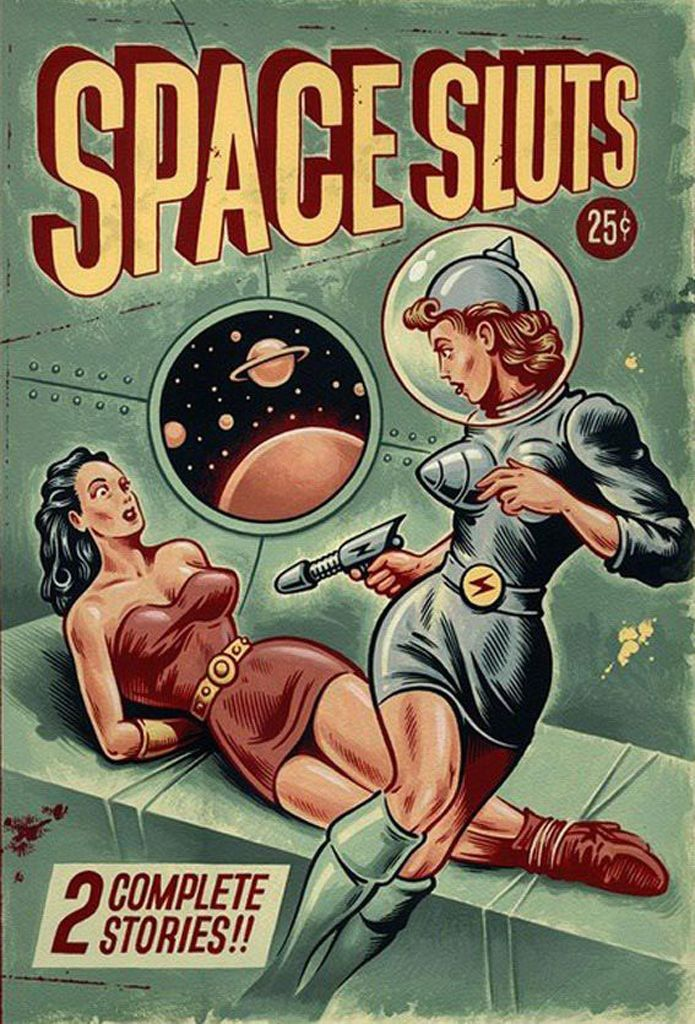 The cover of what looks to be a vintage trashy novel with a woman in a very non-functional spacesuit aiming a ray gun at a woman bound on the space couch.