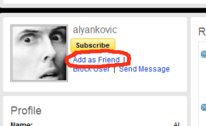 Add to Friends button with Weird Al profile.