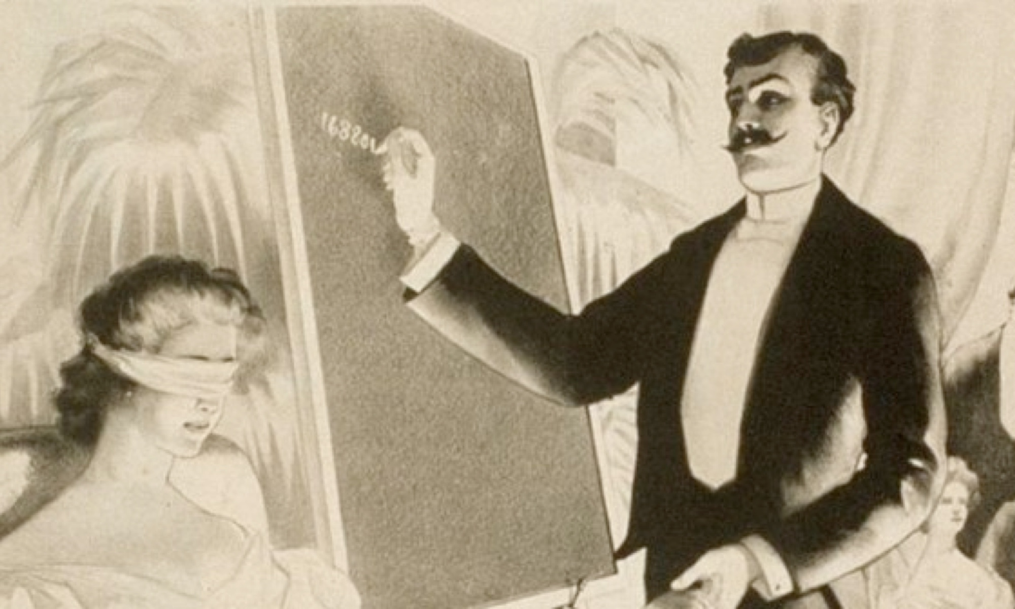 An old looking image, maybe 1920s-30s style of a man in a tuxedo reading the mind of a blindfolded woman.