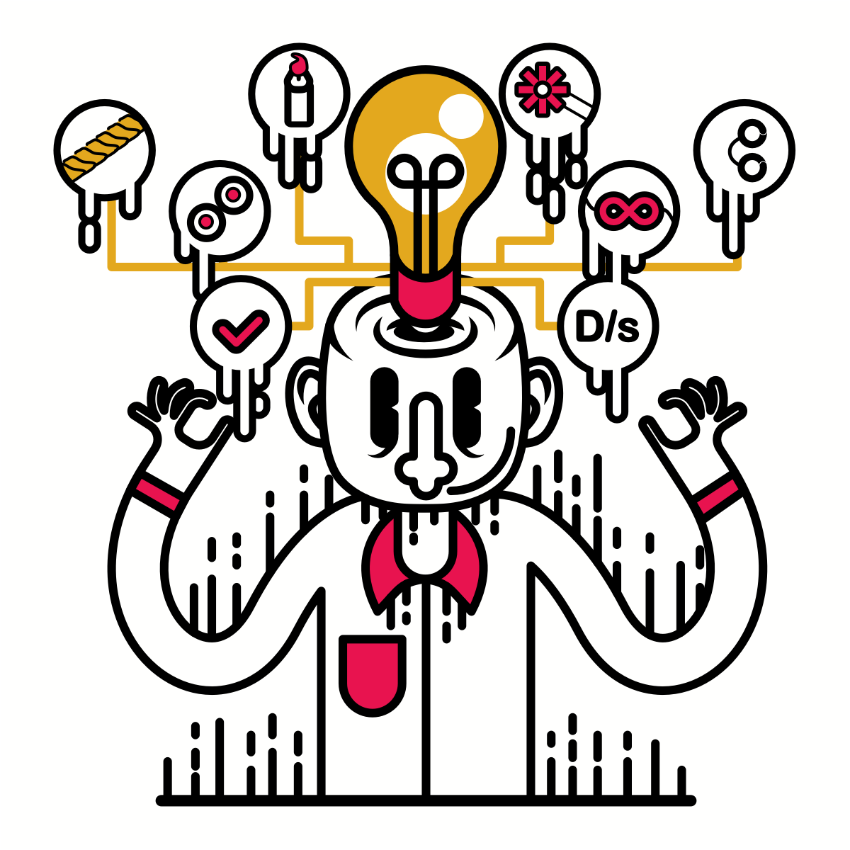 A cartoon person with a myriad of ideas floating around his head, including D/s, a candle, handcuffs, rope and more.