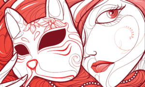 An illustration of a woman in blacks and reds, holding a cat mask to her face, suggesting that she's playing a sadist.