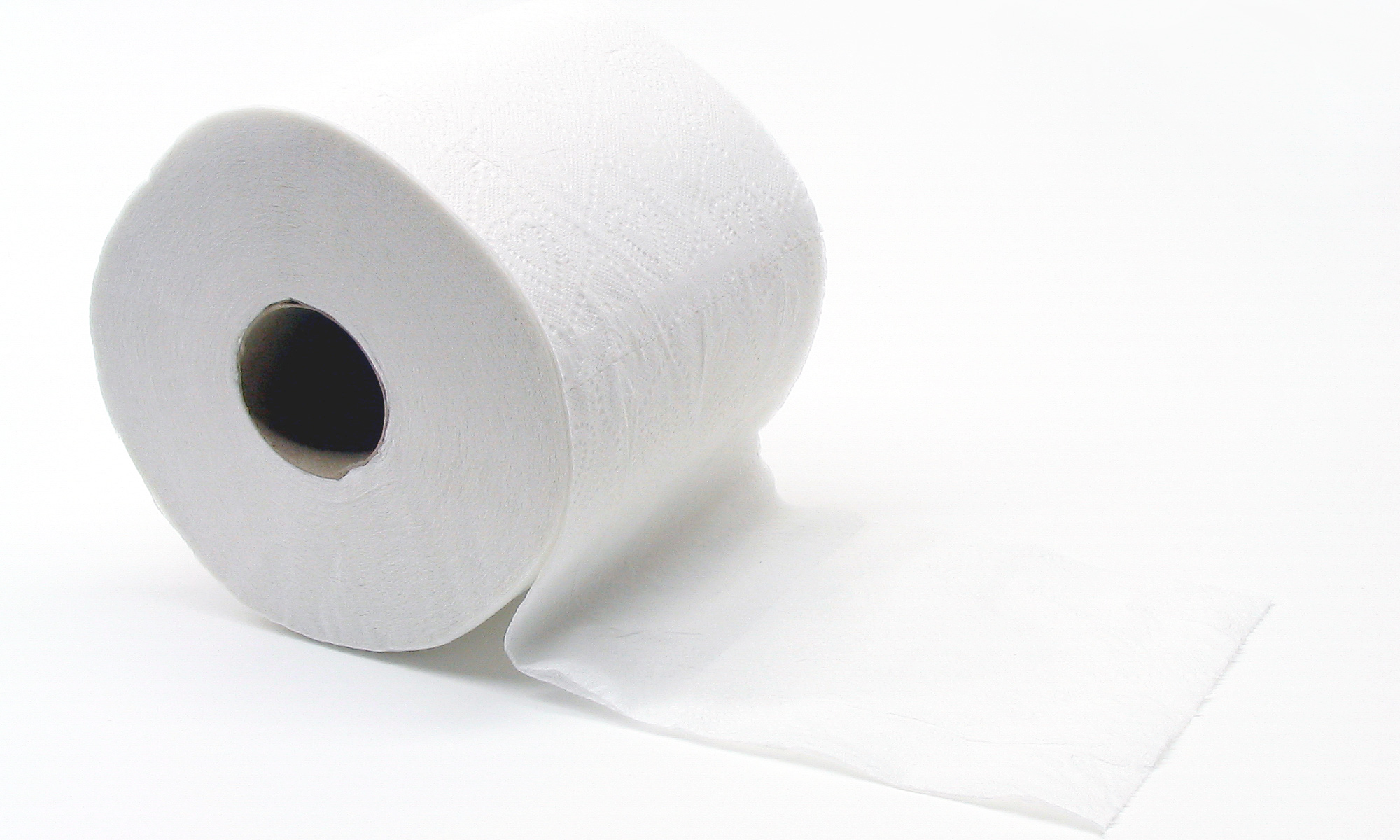 Just a roll of toilet paper on a white background, slightly unrolled.