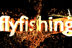 The word flyfishing with water and a fly bursting around it.