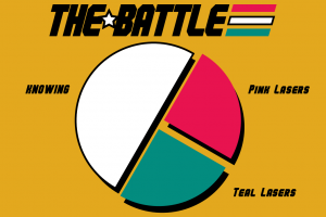 """The Battle, and a pie chart with one half and two quarters. The half is white, and labeled """"knowing."""" The top quarter is pink and labeled """"pink lasers,"""" and the bottom quarter is teal and labeled """"teal lasers."""""""