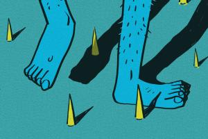 Cartoon blue legs walking in a field of yellow spikes.