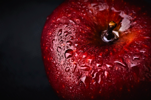 A tasty-looking apple, representing the first seduction.