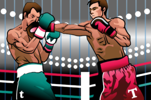 """Two boxers in a right. One in gre with a little """"t,"""" the other in pink with a capital """"T."""""""