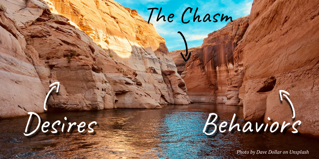 The chasm between desires and behaviors—or how we can be both right and wrong at the same time.
